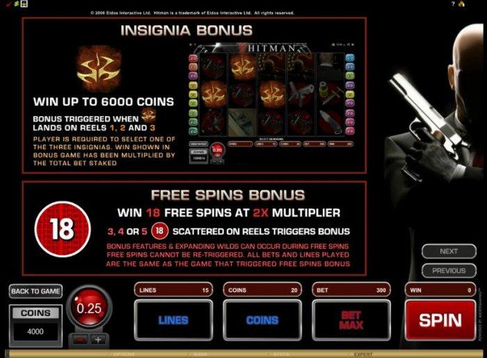 insignia bonus and free spins bonus rules - All Online Pokies