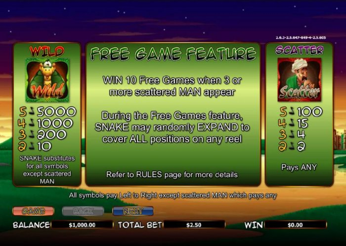 scatter, wild and free games feature paytable - All Online Pokies