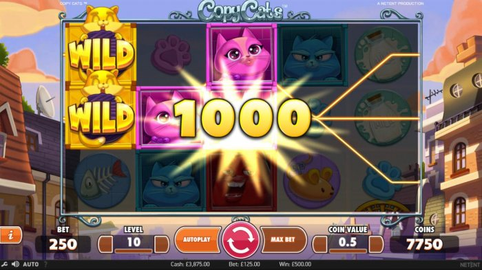 Multiple winning paylines triggers a 1000 coin big win! - All Online Pokies