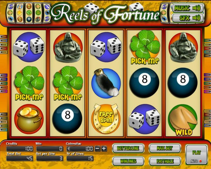 All Online Pokies - Main game board featuring five reels and 15 paylines with a $7,500 max payout.