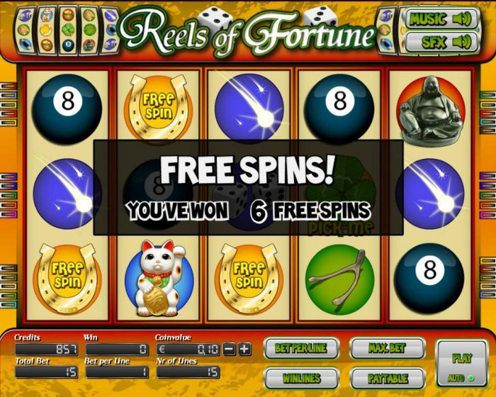 Landing three or more Horseshoe free spin symbols on an active payline triggers 6 or more free spins. - All Online Pokies