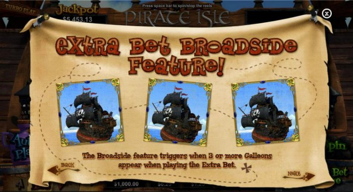 Extra Bet Broadside feature! The Broadside feature triggers when 3 or more Galleons appear when playing the extra bet. - All Online Pokies