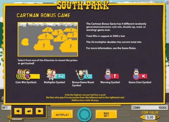 All Online Pokies - the cartman bonus game has 4 different randomly generated outcomes