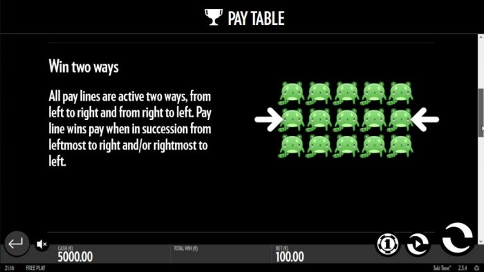 Win two ways - All pay lines are active two ways, from left to right and from right to left. Pay line wins pay when in succession from leftmost to right and/or rightmost to left. by All Online Pokies