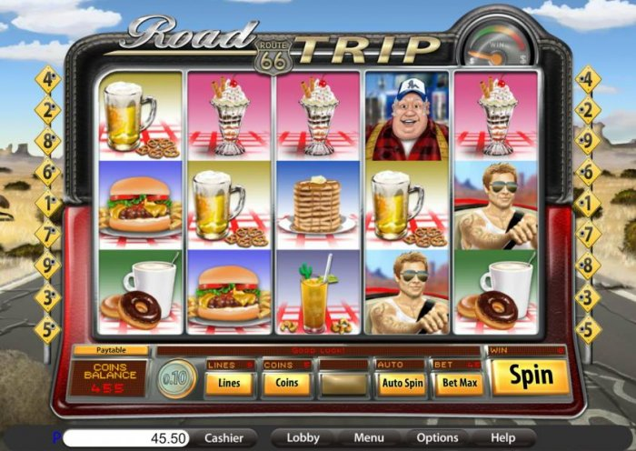 main game board featuring five reels and nine paylines by All Online Pokies