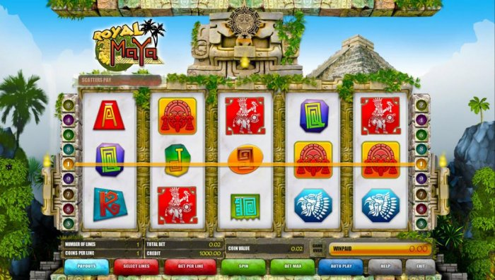 main game board featuring five reels and nine paylines - All Online Pokies
