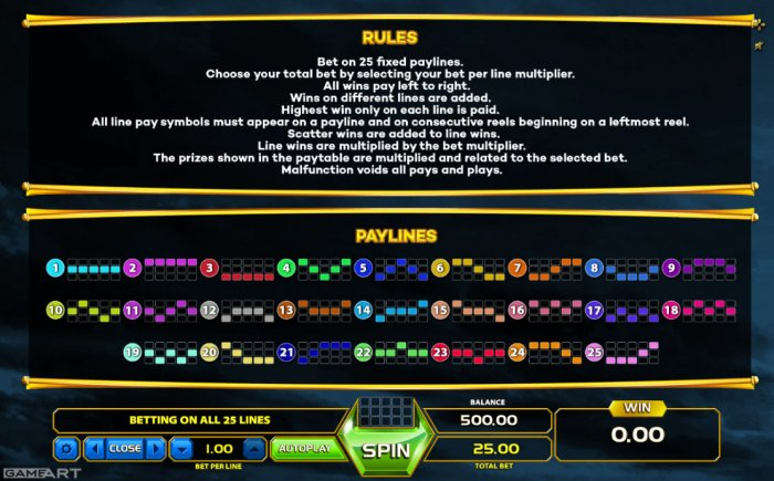 All Online Pokies - Paylines 1-25