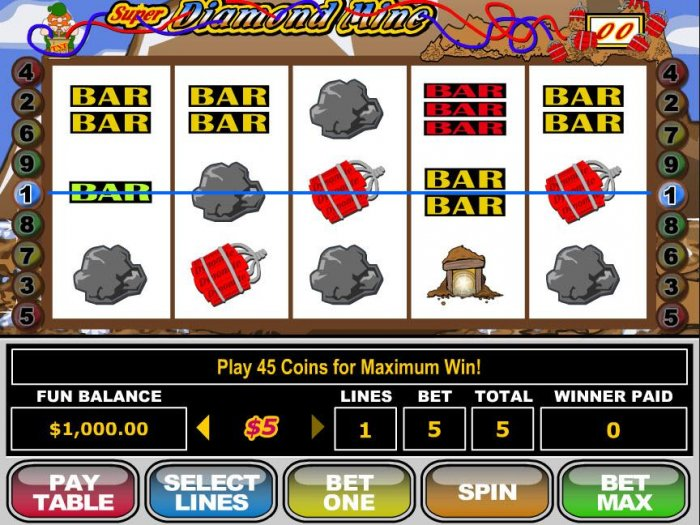 A diamond mining themed main game board featuring five reels and 9 paylines with a $250,000 max payout - All Online Pokies