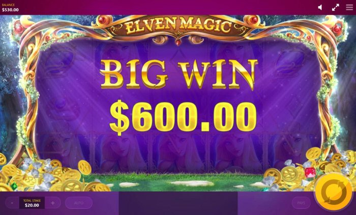 Elven feature triggers a 600.00 big win! by All Online Pokies