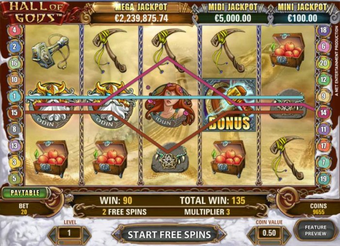 multiple winning paylines triggered during free spins feature - All Online Pokies