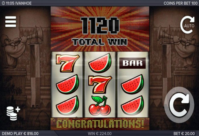 All Online Pokies - Total Free Spins payout is 1120 coins.