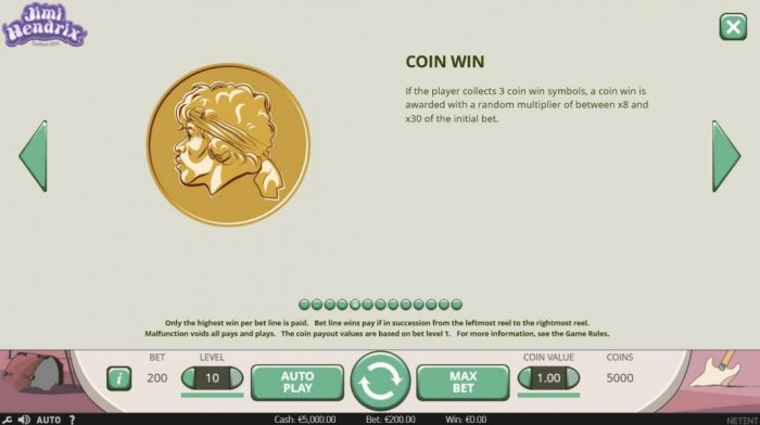 All Online Pokies - Coin Win - If the playercollects 3 coin win symbols, a coin win is awarded with a random multiplier of between x8 and x30 of the initial bet.