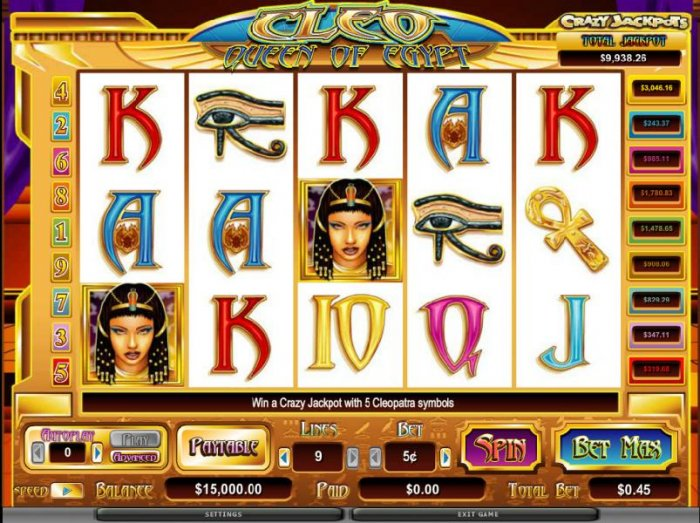 Cleo Queen Of Egypt by All Online Pokies