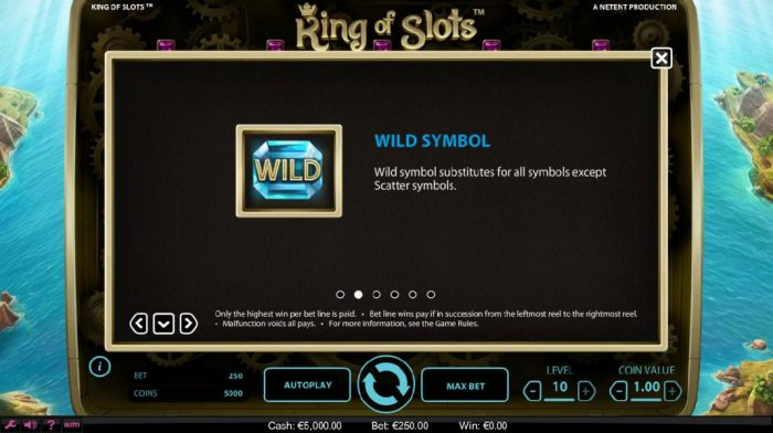 All Online Pokies - Blue gemstone is wild and substitutes for all symbols except scatter symbol.