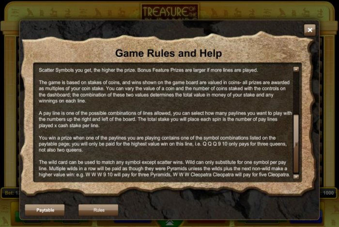 All Online Pokies image of Treasure of the Pyramids