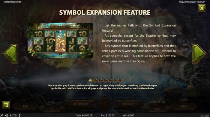 All Online Pokies - Symbol Expansion Feature - All symbols, except for the scatter symbol, may be marked by butterflies. Any symbol that is marked by butterflies and that take part in a winning combination will expand to cover the entire reel. This featur