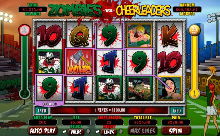 Zombies vs Cheerleaders by All Online Pokies