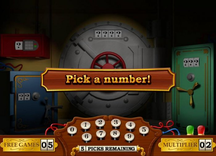 Pick a number to open a safe. You have five picks to open as many safes as possible - All Online Pokies