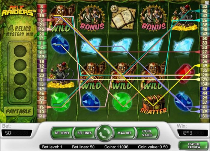 multiple winning paylines triggers a 1293 coin big win by All Online Pokies