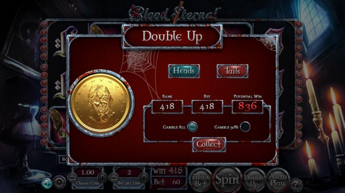 All Online Pokies - Double Up gamble feature is available after every winning spin. Select heads or tails for a chance to double your winnings.