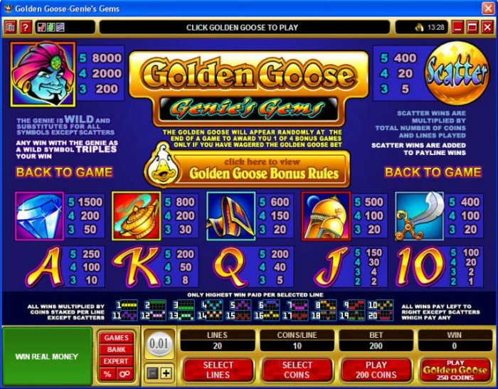 Golden Goose - Genie's Gems by All Online Pokies