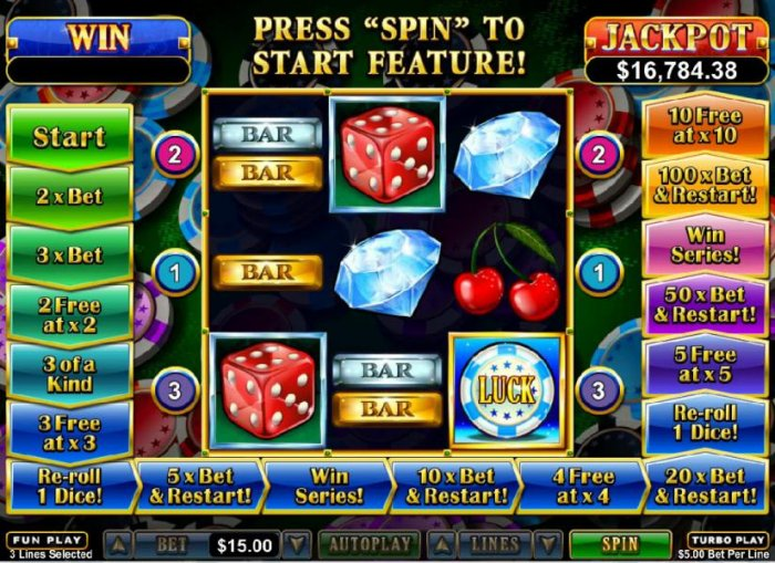 All Online Pokies - A pair of dice scatter symbols on reels 1 and 2 triggers the bonus feature