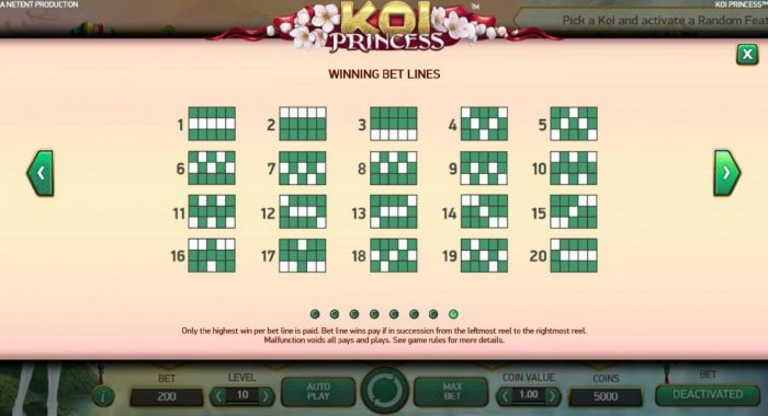 Payline Diagrams 1-20 - Only the highest win per line is paid. Bet line wins pay if in succession from leftmpst reel to the rightmost reel. by All Online Pokies