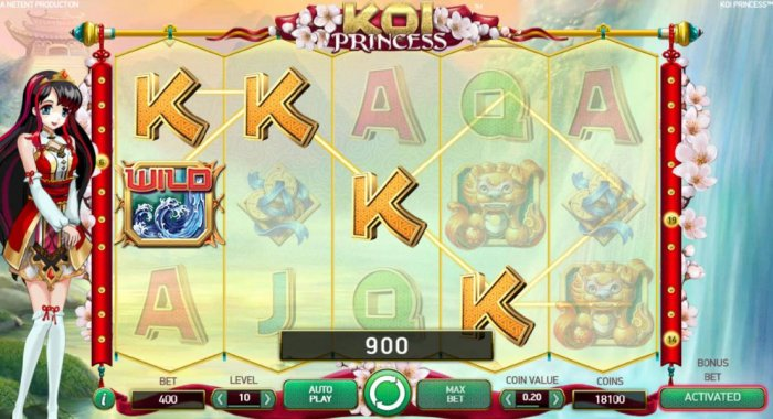 Multiple winning paylines triggers a 900 coin big win! - All Online Pokies