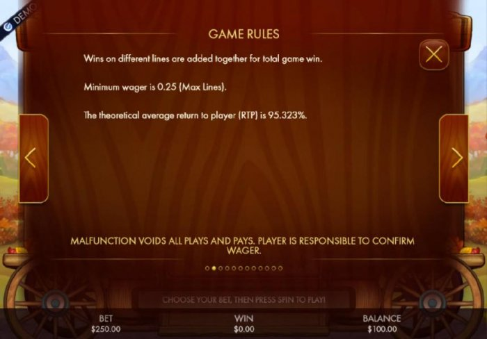 All Online Pokies - Win on different lines are added together for a total game win. Minimum wager is 0.25 (Max Lines). The theoretical average return to player (RTP) is 95.323%
