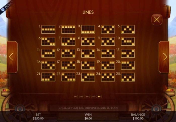 All Online Pokies - Payline Diagrams 1-25