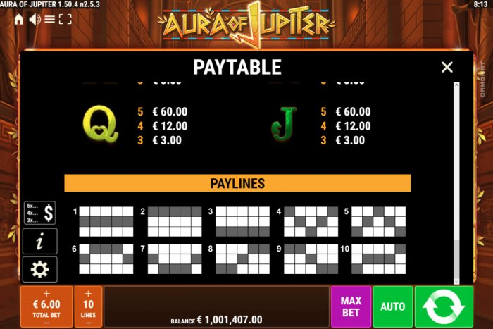 Paylines 1-10 by All Online Pokies