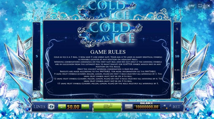 All Online Pokies image of Cold As Ice