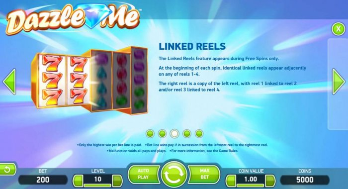 All Online Pokies - The Linked Reels feature appears during Free Spins only. At the beginning of each spin, identical linked reels appear adjacently on any of reels 1-4. The right reel is a copy of the left reel, with reel 1 linked to reel 2 and/or reel 3