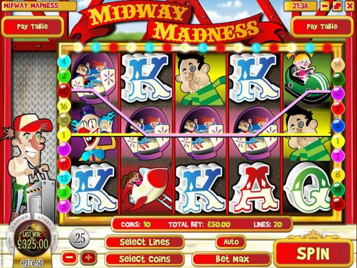 All Online Pokies - multiple winning paylines triggers a $325 big win