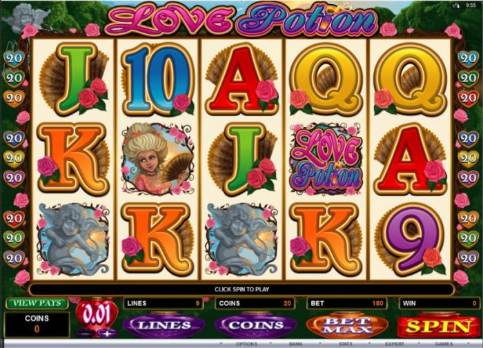 All Online Pokies - Main game board featuring five reels and 9 paylines with a $12,500 max payout
