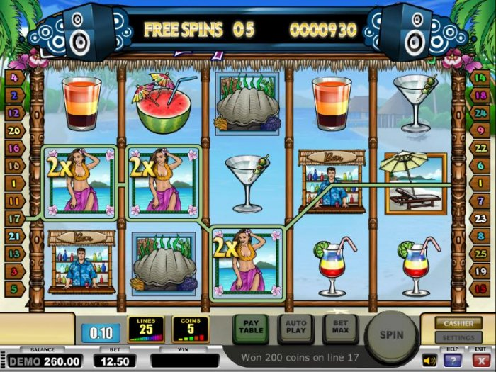 All Online Pokies - three of a kind with 3x multipliers triggers a modest payout