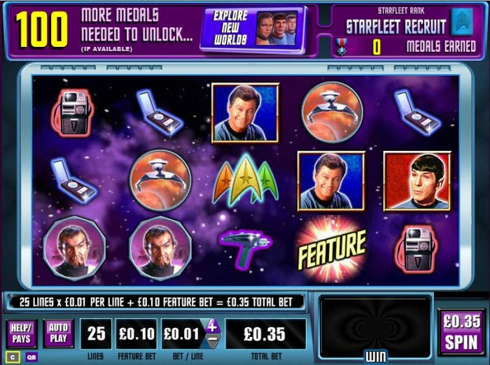 All Online Pokies - Main game board featuring five reels and 25 paylines