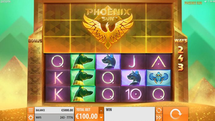 All Online Pokies - An Egyptian themed main game board featuring five reels and 243 ways to win with a $170,000 max payout