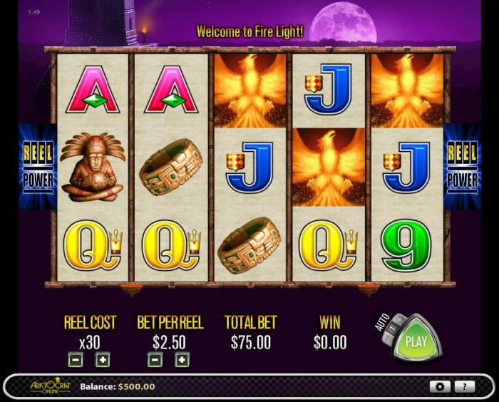 Main game board featuring five reels and 243 winning combinations with a $2,500 max payout by All Online Pokies
