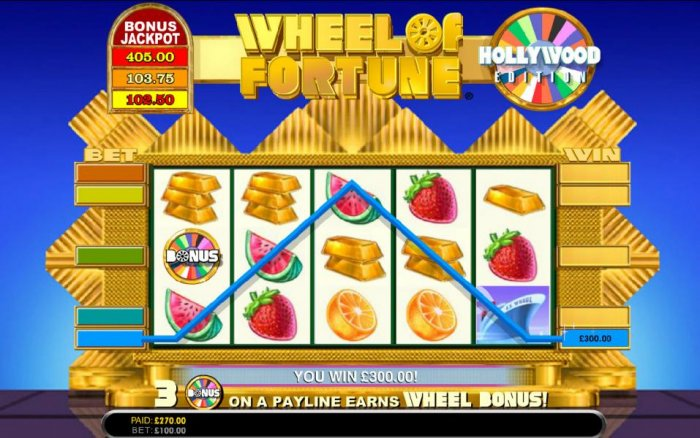 here is an example of a three of a kind triggering a 300 coin jackpot prize award by All Online Pokies