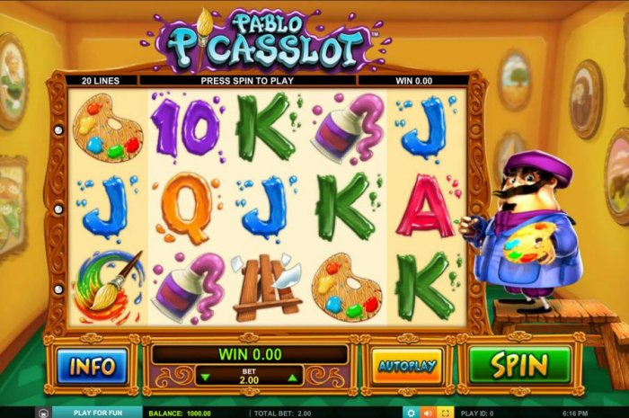 Main game board featuring five reels and 20 paylines with a $1,000 max payout - All Online Pokies