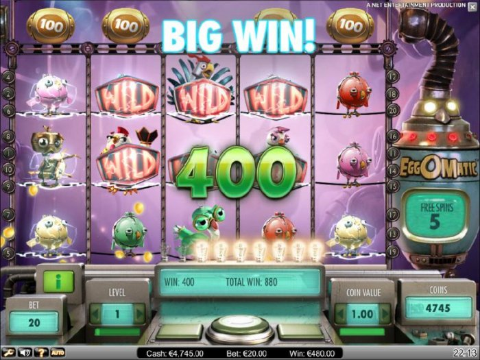 spreading wild feature triggers a 400 coin big win jackpot by All Online Pokies
