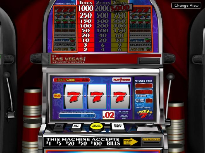 All Online Pokies - main game board featuring three reels and a single payline
