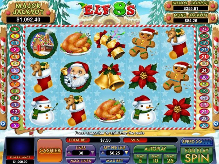 A Christmas holiday themed main game board featuring five reels and 30 paylines with a progressive jackpot max payout - All Online Pokies