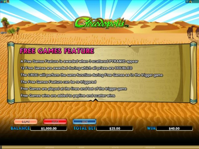 All Online Pokies - a free games feature is awarded when 3 scattered pyramid symbols appear