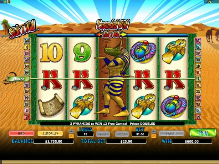 expanded wild on reel 3 triggers a 600 coin big win by All Online Pokies