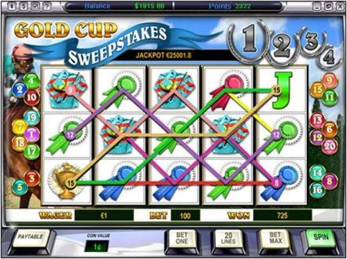 All Online Pokies - main game board featuring five reels and twenty paylines