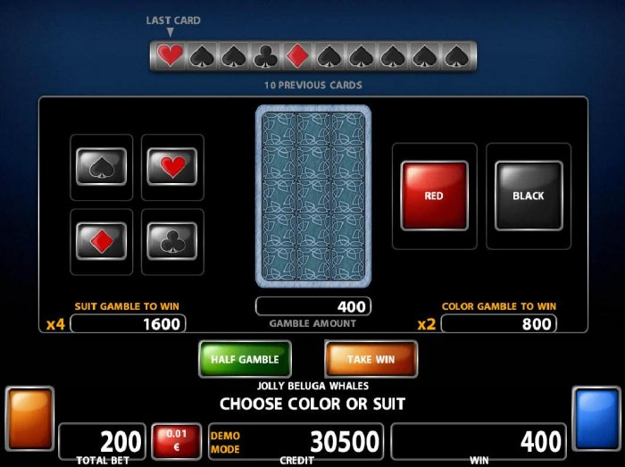 Double Up gamble feature is available after every winning spin. Select the correct color or suit for a chance to double your winnings. by All Online Pokies