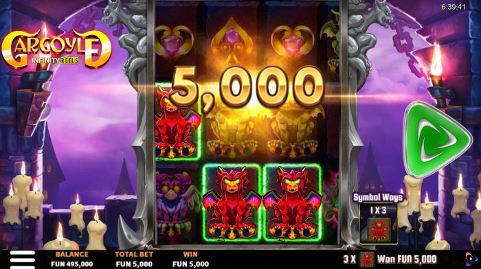 A three of a kind win by All Online Pokies