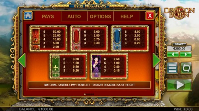 High value pokie game symbols paytable. Matching symbols pay from left to right regardless of height. - All Online Pokies